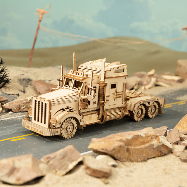 Robotime 1:40 286pcs Classic DIY Movable 3D America Heavy Truck Wooden Model Building Assembly Toy Gift for Children Adult MC502 11