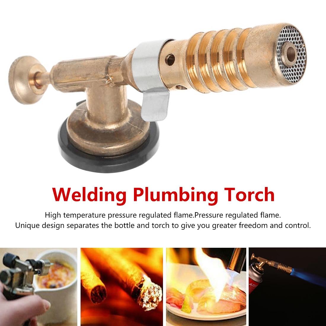 Portable Gas Torch Flame Gun Blowtorch Copper Flame Butane Gas-Burner Lighter Heating Welding For Outdoor Camping Spray Gun