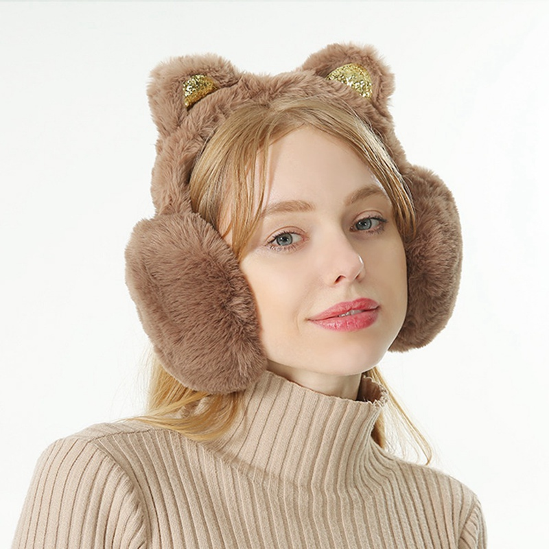 2020 Sequin Folding Cat Ears Earmuffs For Women And Girls Plush Fur Ear Warmer Bun With Glitter Headband 3D Cartoon LAS