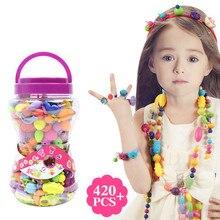 Pop Arty-Kit de perles faites à la main, développement d'intelligence pour enfants, bijoux à bricoler soi-même collier anneau, artisanat, cadeau d'anniversaire, pas besoin de corde