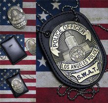 New 1pcs LA Police SWAT Officer Badges Card ID Cards Holder 1:1 Gift Cosplay Collection Halloween Metal Badge Prop Gift