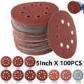100Pcs 5Inch 125mm Round Sandpaper Eight Hole Sanding Disk Set 80-3000 Hook & Loop Abrasive Sander Paper Use For Polishing Tools