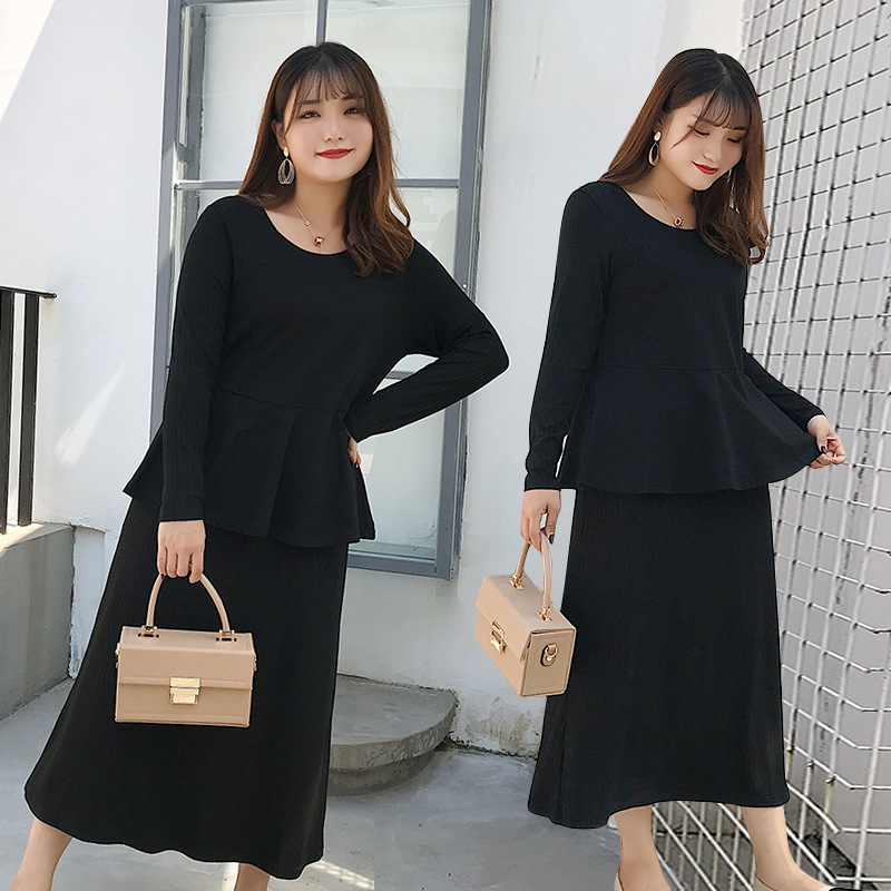 200 Large Size Dress Plus-sized Womenswear Size Fall And Winter Clothes Western Style Crew Neck Long Sleeve Mock Two-Piece Mid-l