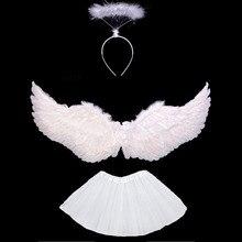 Fantasia crianças menina anjo pena asa tutu saia anel de auréola bandana festa presente aniversário carnaval casamento decoração da sua casa