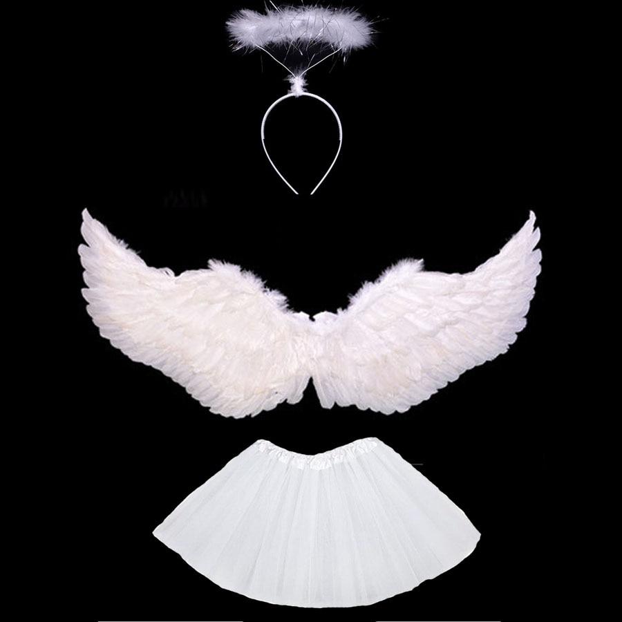 Halloween Costume Kids Women Girl Angel Feather Wing Tutu Skirt Halo Ring Headband Party Birthday Gift Carnival Wedding Purim