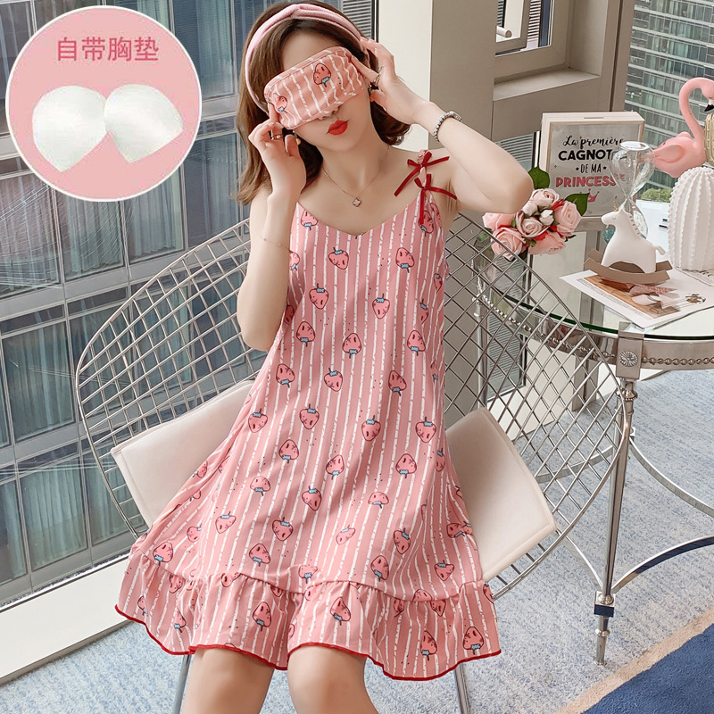 Hot Selling Amount And Chest Pad Send Eye Patch Camisole Qmilch Nightgown 150G 2019 Summer Pajamas Women's Loose-Fit