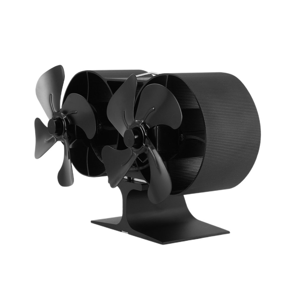 Dual Head 8 Blades Powered Stove Fan Aluminium Silent Eco-Friendly For Wood Log Burner Fireplace Fan