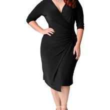 2020 Summer Fashing Sexy Party Dress For Fat Female Plus Size Vintage Dress 5XL Women Black Deep V Neck Tight Slim Midi Dress