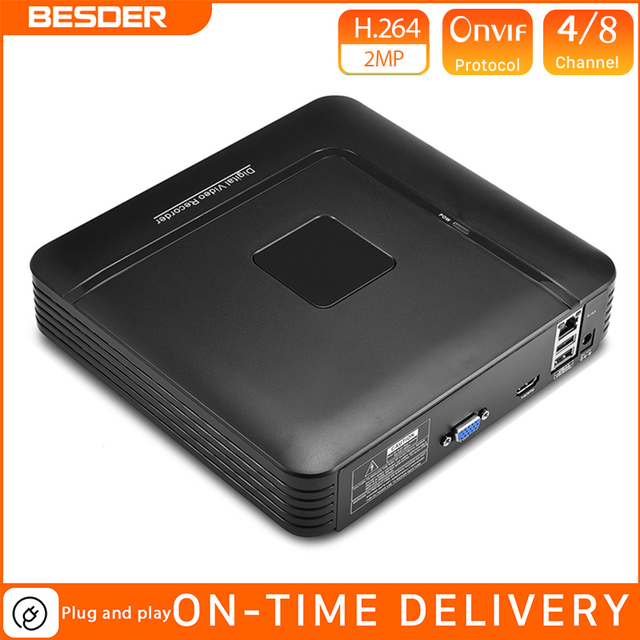 BESDER Plastic Case Small NVR Full HD 1080P 4 Channel 8 Channel Security  Network Video Recorder  Onvif  For 1080P Ip Camera