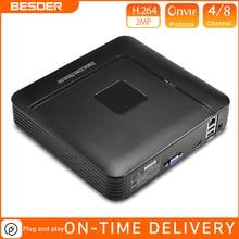 BESDER obudowa z tworzywa sztucznego małe NVR Full HD 1080P 4 kanał 8 kanał bezpieczeństwa sieciowy rejestrator wideo Onvif dla 1080P kamera Ip