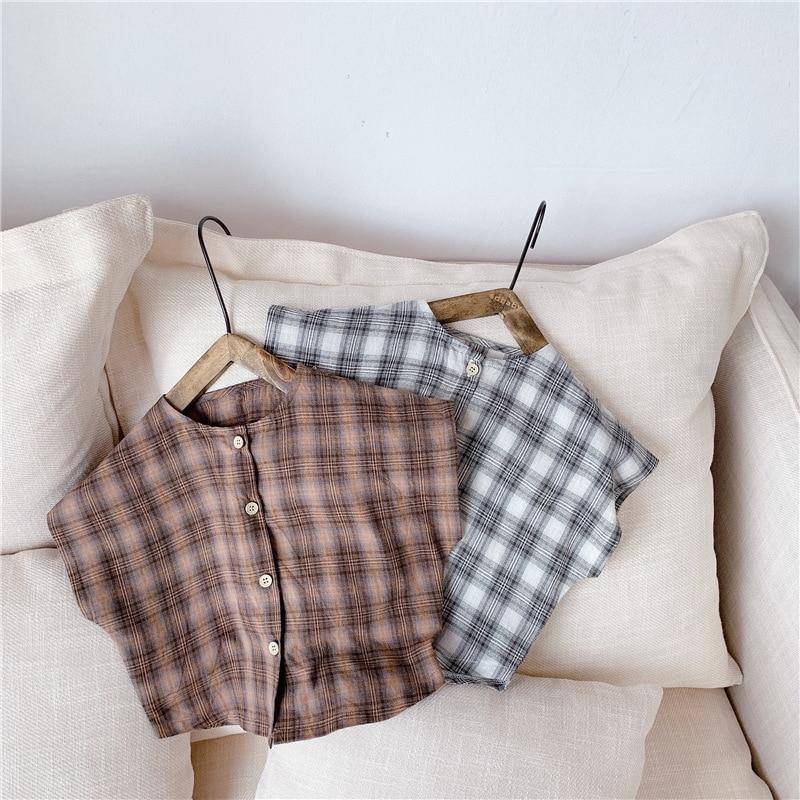 3501 Stylish New Children's Plaid Blouses Summer 2020 Raglan Sleeve Lovely Girl's Shirts Fashion Kids Streetwear