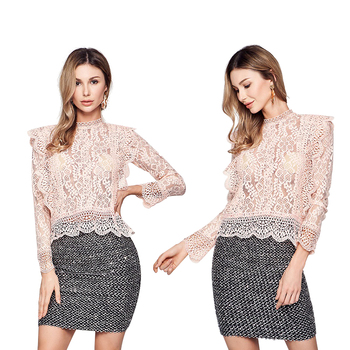 Phi Phi Star Brand Italian Hot sale autumn lace top mesh blouse Long sleeve high neck ladies See Through flounce Shirt tie neck flounce blouse