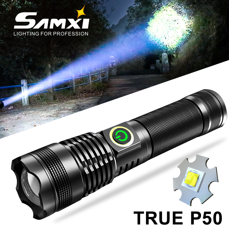 New True XHP50 High Light LED Flashlight Built-in Battery Torch USB Charging 5 Modes Flashlight With Zoomable and Power Display
