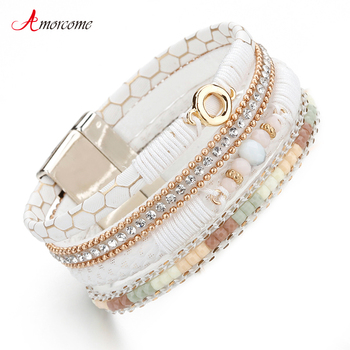Amorcome White Leather Bracelets for Women Rhinestone Crystal Metal Charm Wide Multilayer Wrap Bracelets & Bangles Jewelry amorcome metal feather genuine leather bracelet for women jewelry fashion multilayer bohemian charm wide bracelets