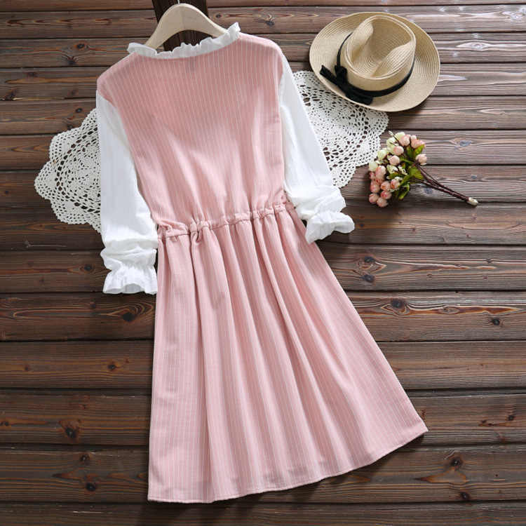 Preppy Style Spring Women Cute Dress Patchwork Pink Blue Bow Girl's School Dress Elegant Long Sleeve Kawaii Striped Dress PV296