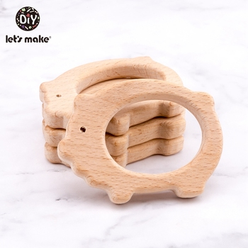 Let'S Make 50Pcs Baby Wooden Teether Pig For Newborn Gift Beech Wood Baby Teether Toys Wooden Toy Crafts for Kids Teether Toys