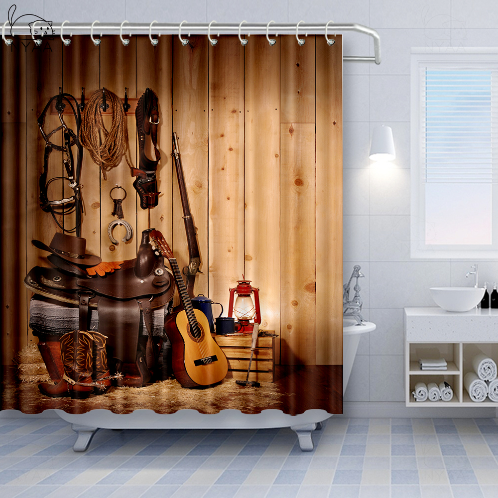 Retro Cowboy and Cowgirl Boots Wood Fabric Shower Curtain Set for Bathroom Decor