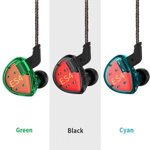 Image 2 - KZ ES4 dans les moniteurs doreille Armature et dynamique casque hybride écouteurs doreille écouteurs HiFi basse suppression de bruit crochets doreille écouteurs