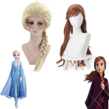 цена на 2019 New Anime Princess Anna Elsa Cosplay Wig 70cm Long Curly Wavy Heat Resistant Synthetic Hair Brown Women Costume Party Wig