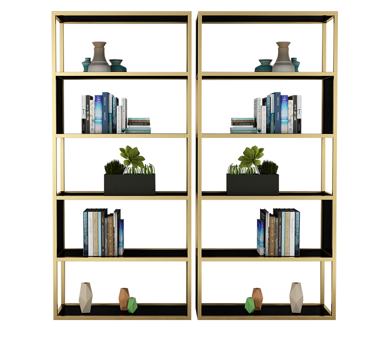 Gold Bedroom Decoration Solid Wood Bookshelf Iron Multi-layer Display Cabinet