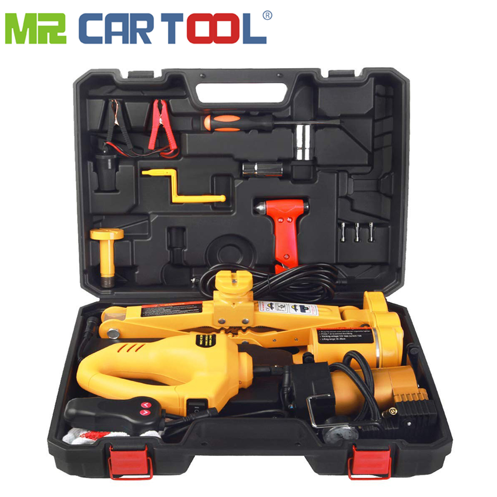 3 In 1 Electric 3Ton Car Floor Jack for Automatic 12v Scissor Lift Jacks with Impact Wrench Tire Inflator Pump LED Flashlight