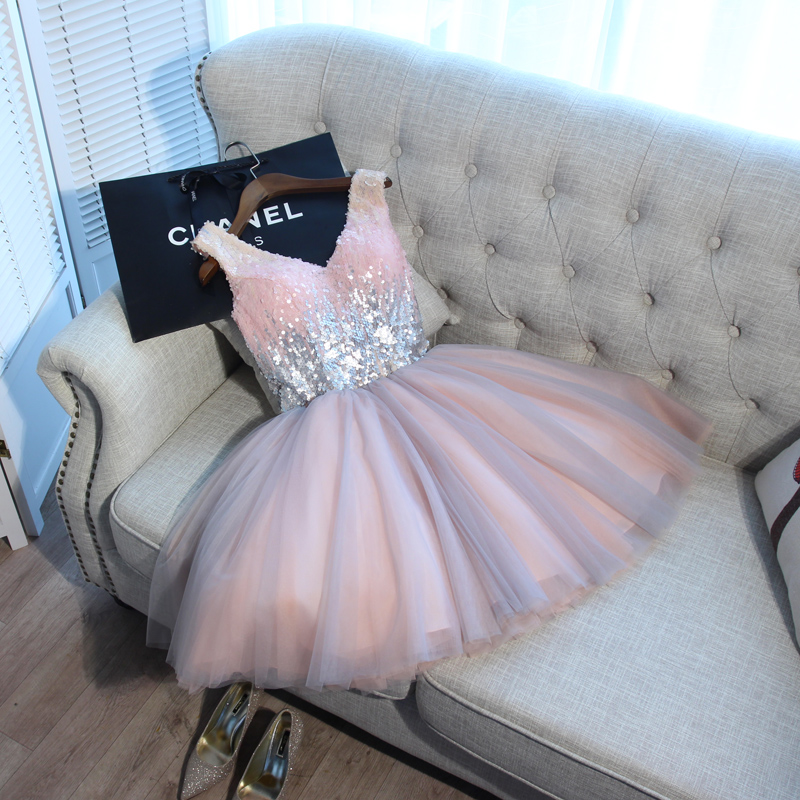 Party-Gown Short Prom-Dresses Sequined Beside Silver Elegant Pink Beauty Lace V-Neck title=