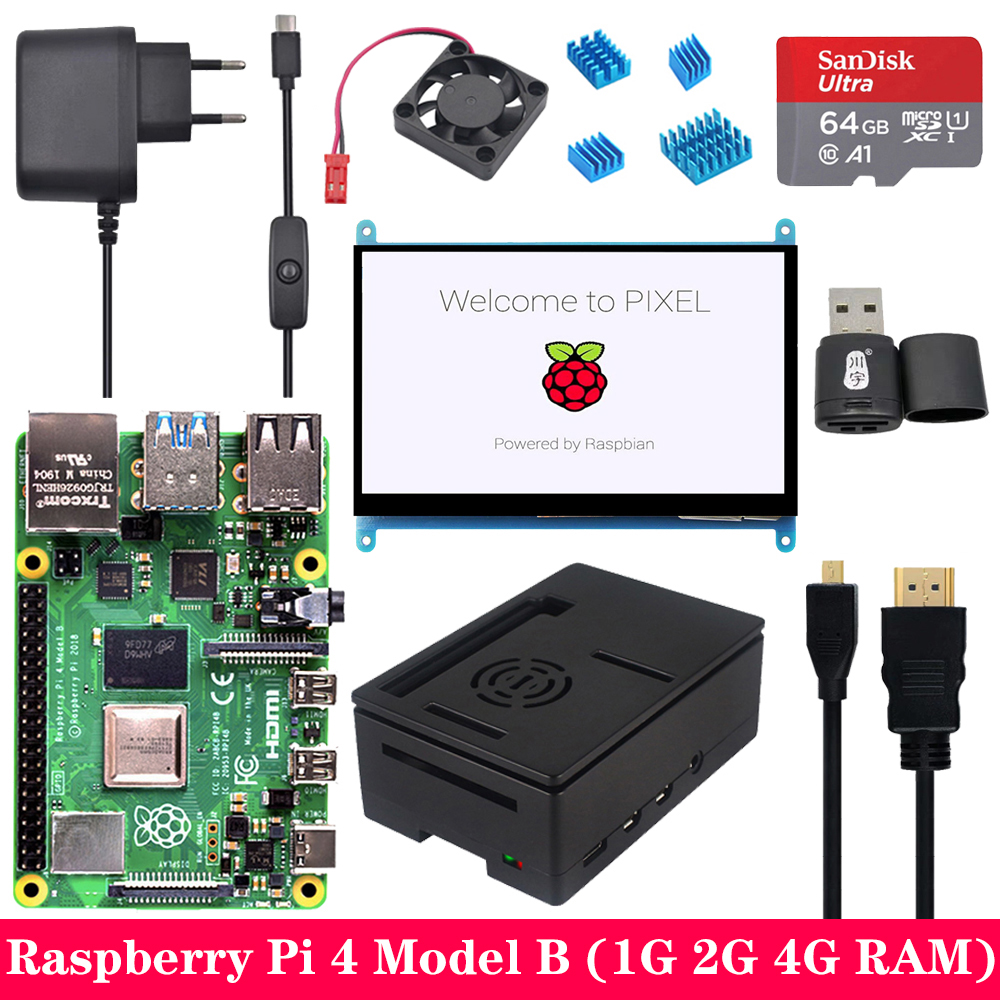 Raspberry Pi 4 Model B 1G 2G 4G RAM with 7 inch 1024*600 Touchscreen LCD Power Supply ABS Case SD Card for Raspberry Pi 4B Pi 4 image