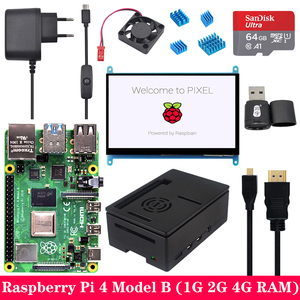 Raspberry Pi 4 Model B, 1G 2G 4G RAM с 7-дюймовым 1024*600 сенсорным ЖК-экраном, источник питания, ABS чехол, sd-карта для Raspberry Pi 4B Pi 4