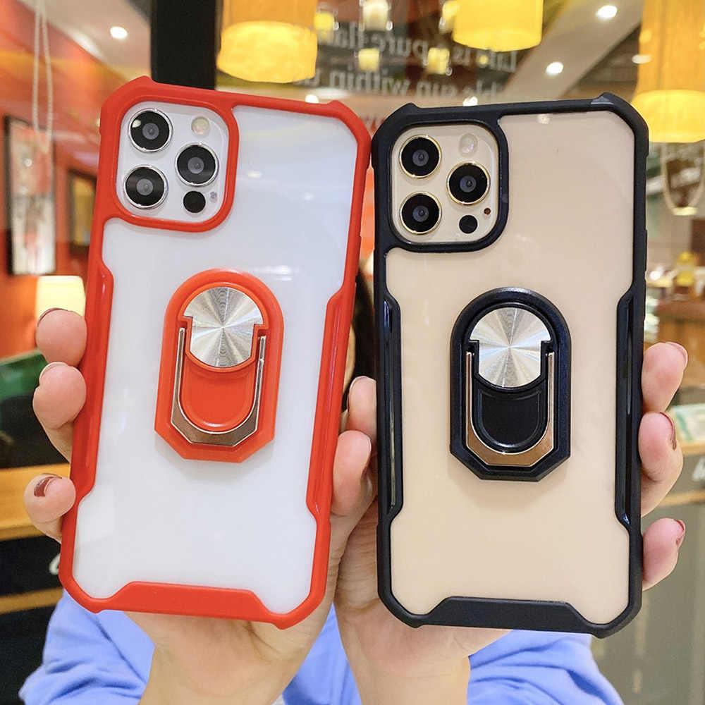 Coque de protection blindée antichoc pour iphone, compatible modèles 6, 6S, 8, 7 Plus, 11 PRO MAX, 12 PRO, X, XS, XR, avec anneau de support