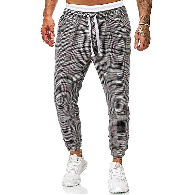 Dropshipping New Fashion Cargo Pants Men Casual Track Sweatpants Men Slim Fit Streetwear Plaid Pants Men Joggers 9 Colors