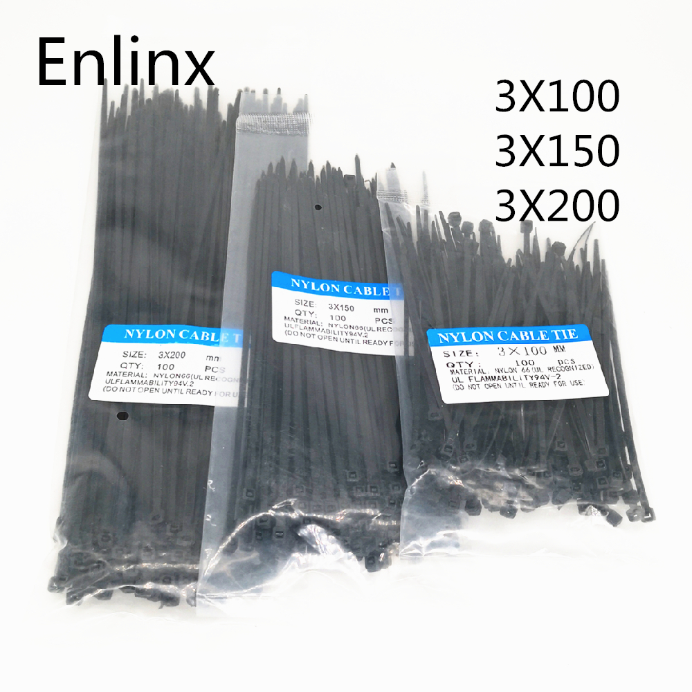 300Pcs Nylon Cable Self-locking Plastic Wire Zip Ties Set 3*100 3*150 3*200 MRO & Industrial Supply Fasteners & Hardware Cable