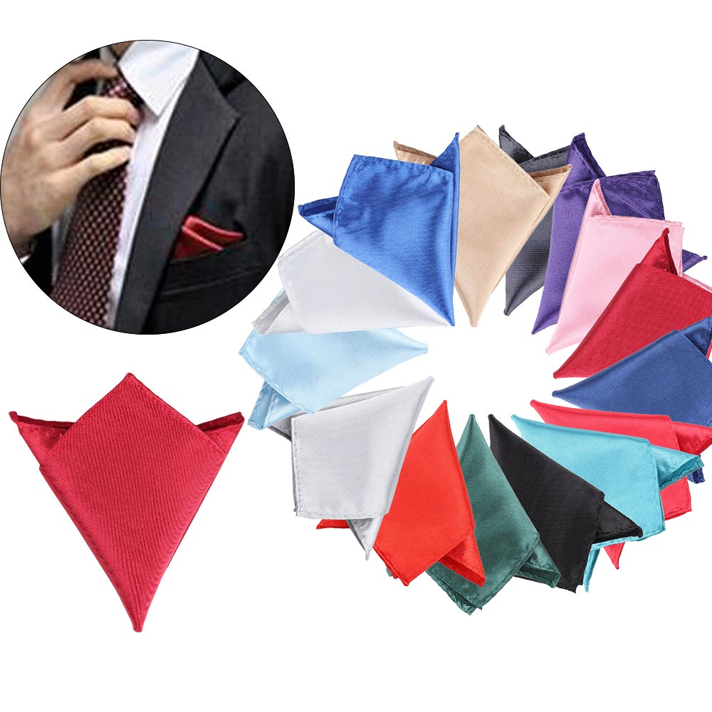 15 Colors Men Plain Suits Pocket Square Satin Handkerchief Plain Solid Wedding Formal Party