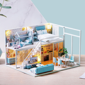 Miniature Loft Dollhouse Children Bedroom Kitchen Furniture LED Lights Kit Assembly Wooden Puzzle Toy Doll Houses DIY Xmas Gift