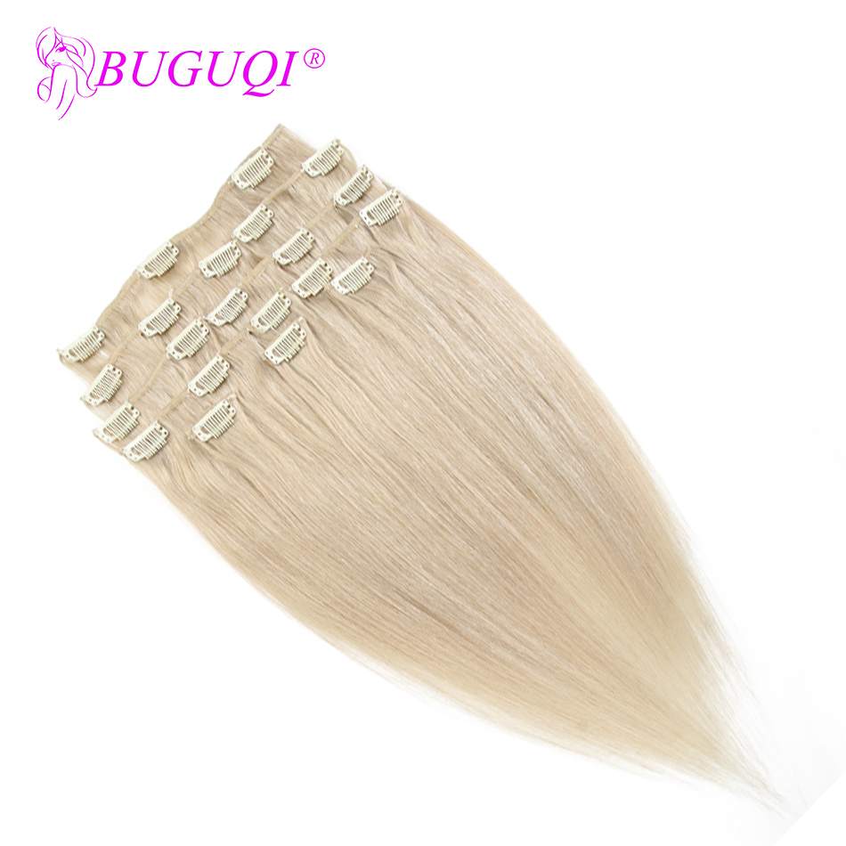 BUGUQI Hair Clip In Human Hair Extensions Peruvian #24 Remy 16- 26 Inch 100g Machine Made Clip Human Hair Extensions