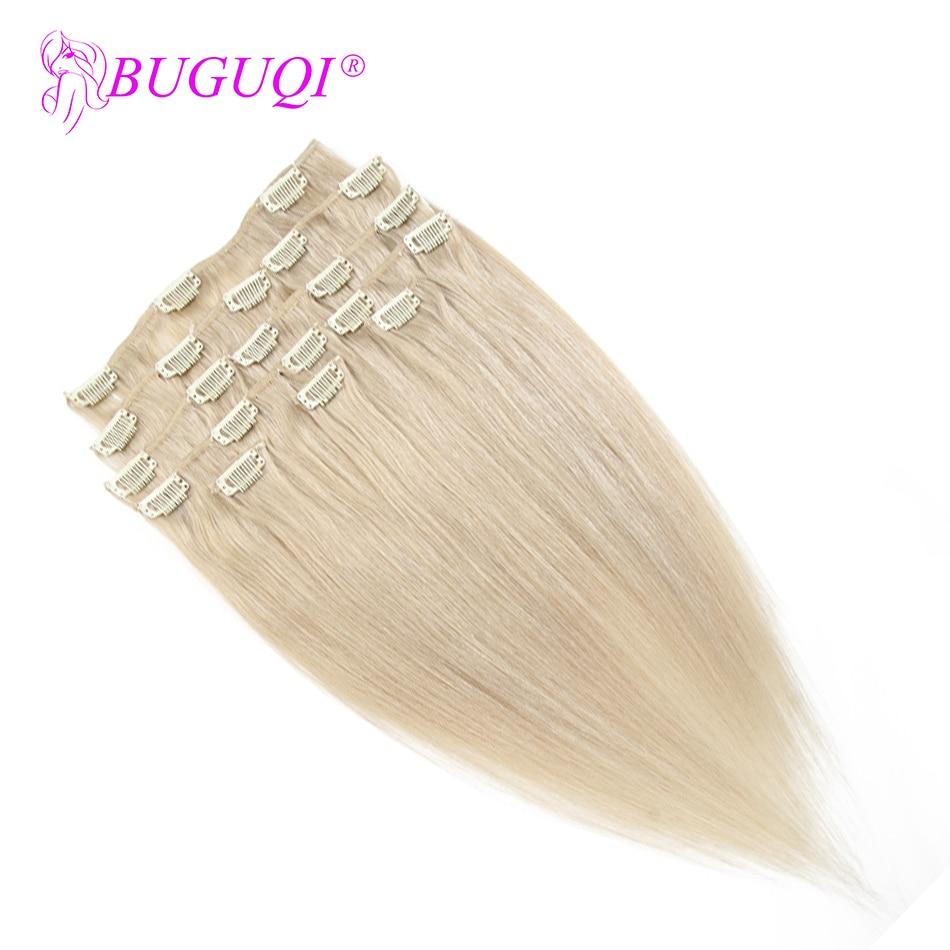 BUGUQI Hair Clip In Human Hair Extensions Peruvian #24 Remy 16- 26 Inch 100g Machine Made Clip Human Hair Extensions