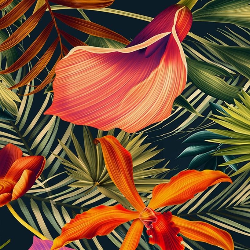 Custom-Wall-Mural-Tropical-Rainforest-Plant-Flowers-Banana-Leaves-Backdrop-Painted-Living-Room-Bedroom-Large-Mural (4)