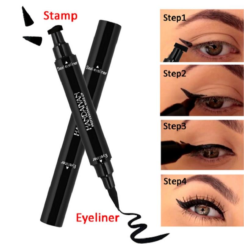 2019 maquillaje delineador de ojos negro lápiz líquido secado rápido impermeable negro doble extremo sellos delineador de ojos Lápiz delineador ojos