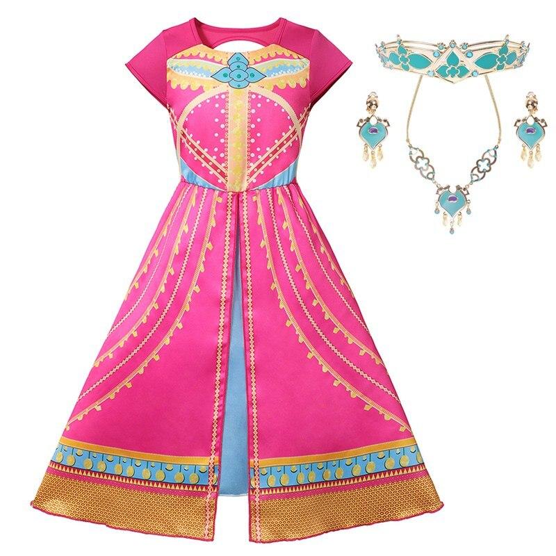 MUABABY Girls Jasmine Princess Costume Backless Rose Printed Aladdin's Lamp Arabian Princess Dress Up Carnival Pageant Clothes