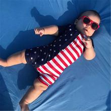 Unisex chłopcy stroje kąpielowe dla dziewczyn moda dla dzieci lato baby boy stroje kąpielowe strój kąpielowy z krótkim rękawem flaga ameryki jednoczęściowy strój kąpielowy dla chłopców tanie tanio MUQGEW Poliester Pasuje prawda na wymiar weź swój normalny rozmiar W paski infant swimwear swimsuit bandeau raye One Pieces Bath Swimwear