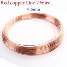 Alta qualidade 1 metro de cobre linha fio 0.6mm t2 cobre vermelho 99*90% fio desencapado