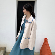 Autumn 2019 New Style Shell-embroidered Double-sided Fashionable All-in-one Hair Turn-down Collar Wool Coat Women