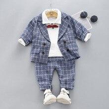 Комплект из трех предметов для мальчиков,: куртка, штаны и рубашка с бантом
