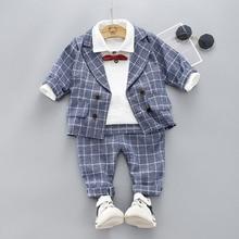 Boys Clothing Sets Plad Suit 3PCS Kids Boys Formal Suit Sets Children Jacket + Pants + Shirt with Bow Clothing Set