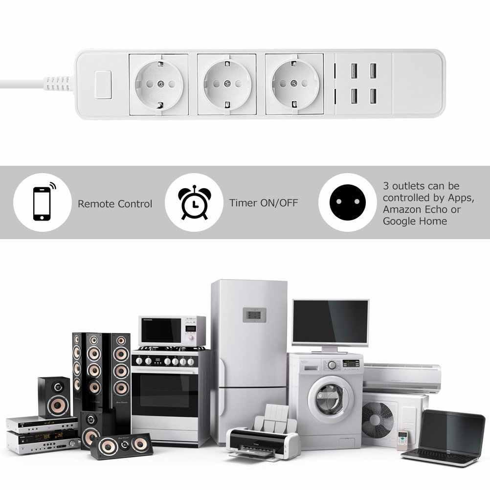 Smart Wifi Power Strip Surge Protector Meerdere Sockets 4 Usb-poort Timer Voice Afstandsbediening Voor Amazon Echo Alexa Google thuis
