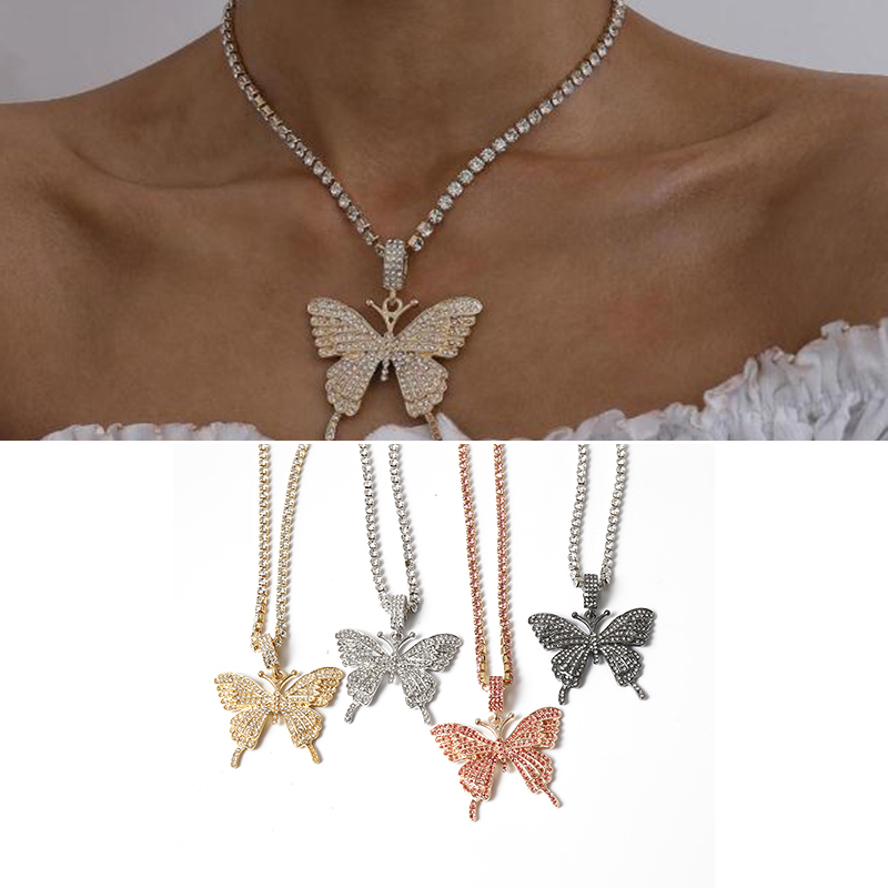 Men's Women Hip Hop Cool Iced Out Sparking Bling pink Butterfly Pendant...