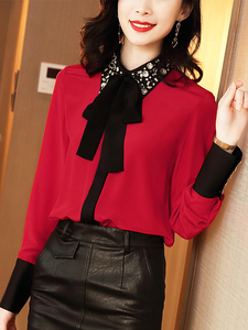 Image 3 - WHITNEY WANG Blouses 2020 Spring Fashion Elegant Diamonds Beading Collar Bow Blouse Women Blusas Office Lady Shirt Top