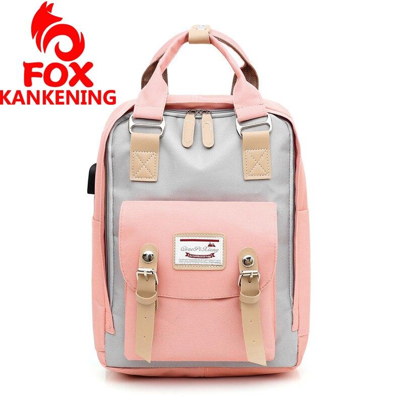 FOX KANKENING Doughnut Backpack School Bag For Teenagers College Student Backpack Nylon Laptop Bags BackPacks USB Unisex Mochila