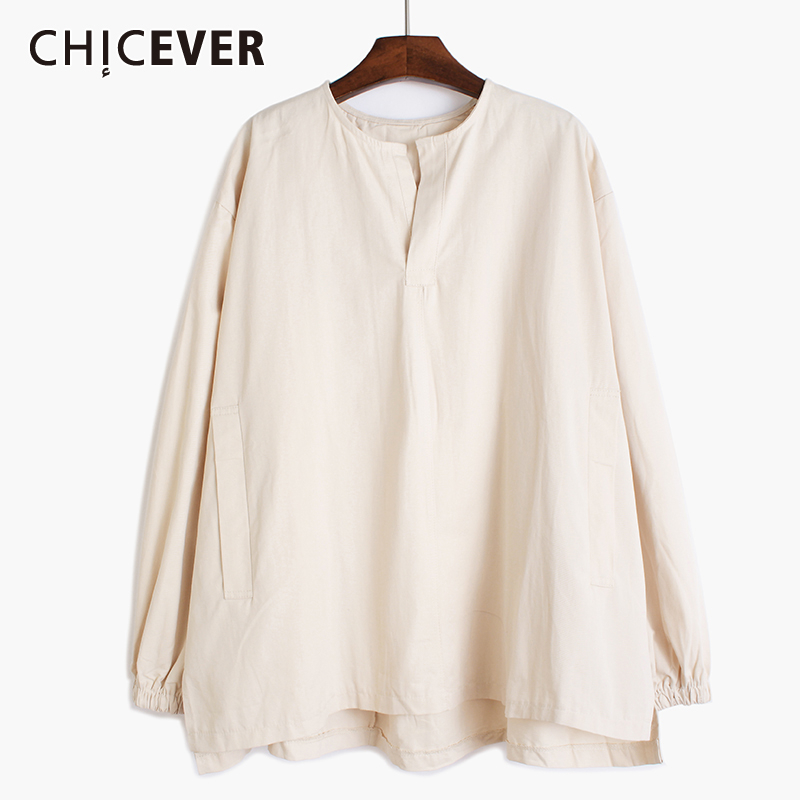 CHICEVER Casual Pleated Women Sweatshirt V Neck Lantern Long Sleeve Loose Ruched Hoodies Female Clothing 2020 Spring Fashion New