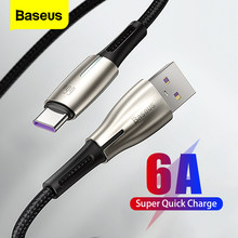 Baseus 6A USB Typ C Kabel Super Schnelle Lade Ladegerät Für Huawei Mate 40 P40 Samsung 66W 5A SCP FCP USBC Typ-C Daten Draht Kabel