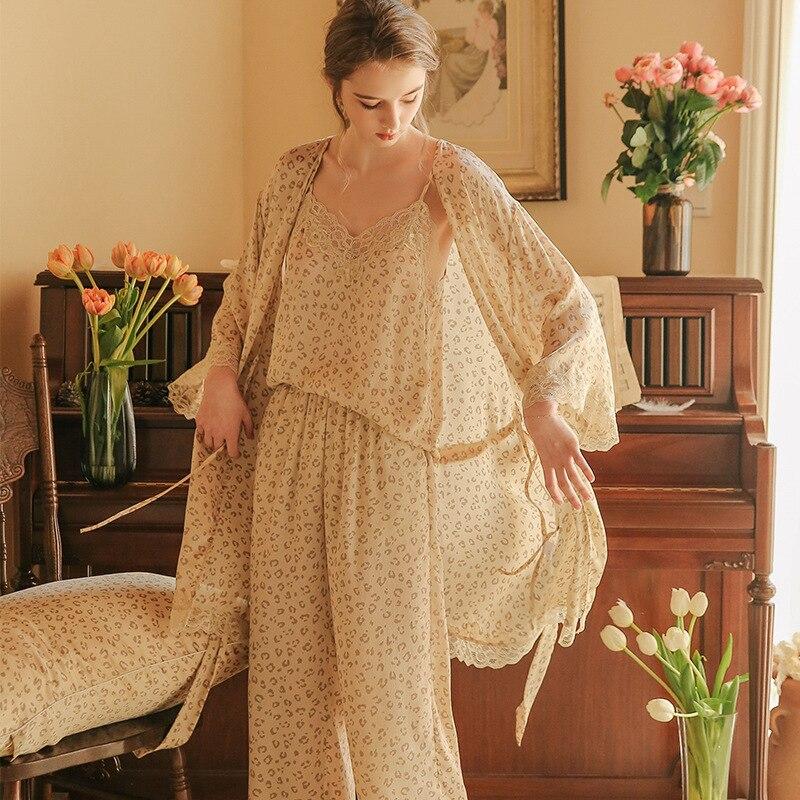 INS Fashion Leopard Pajamas Pajamas Women's Pyjamas 3-Piece Set Sleepwear Robe